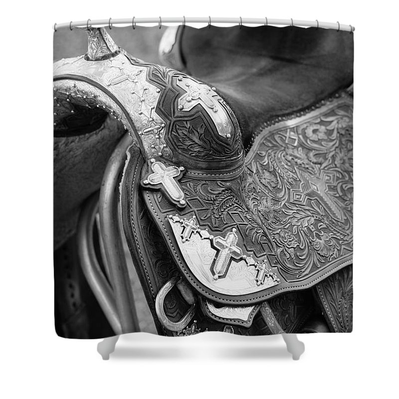 Americana Shower Curtain featuring the photograph Saddle by Marilyn Hunt