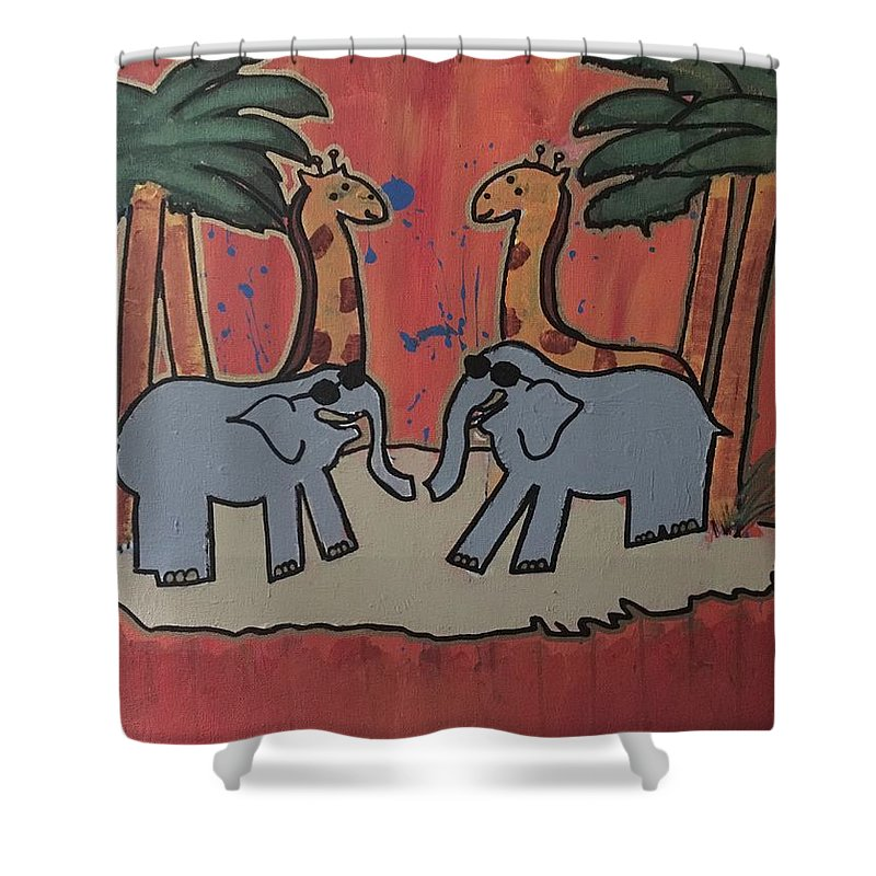 Elephants And Giraffes Shower Curtain featuring the painting Safari by Dominic Pardini
