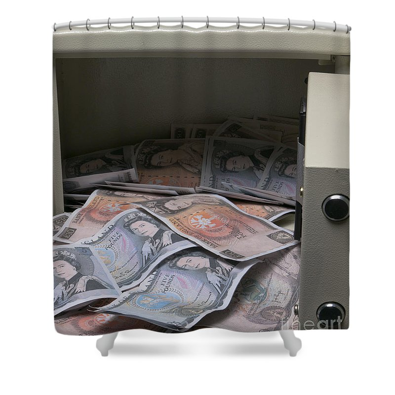 Cash Shower Curtain Featuring The Photograph Safe Full Of Old Pounds By F Helm