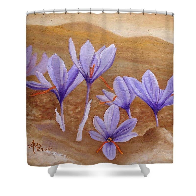 Saffron Flowers Shower Curtain featuring the painting Saffron Flowers by Angeles M Pomata