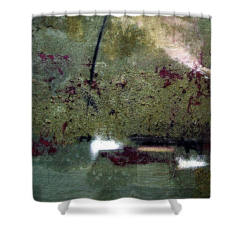 Abstract Shower Curtain featuring the painting Sage And Plum by Ruth Palmer