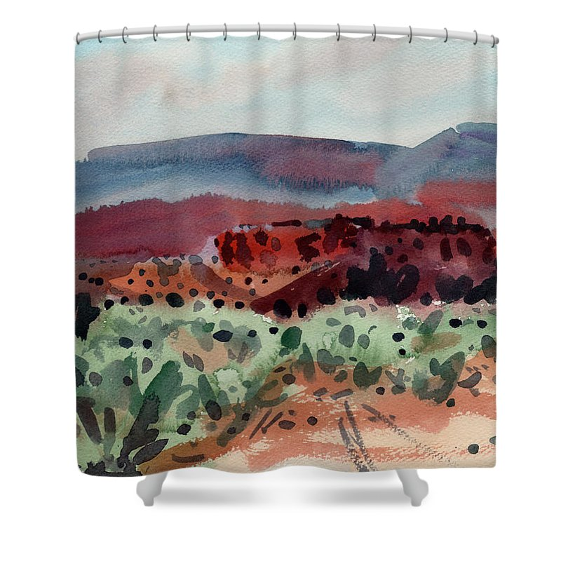 Southwestern Landscape Shower Curtain featuring the painting Sage Sand And Sierra by Donald Maier