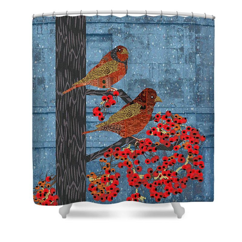 Quilted Birds Shower Curtain featuring the digital art Sagebrush Sparrow Long by Kim Prowse