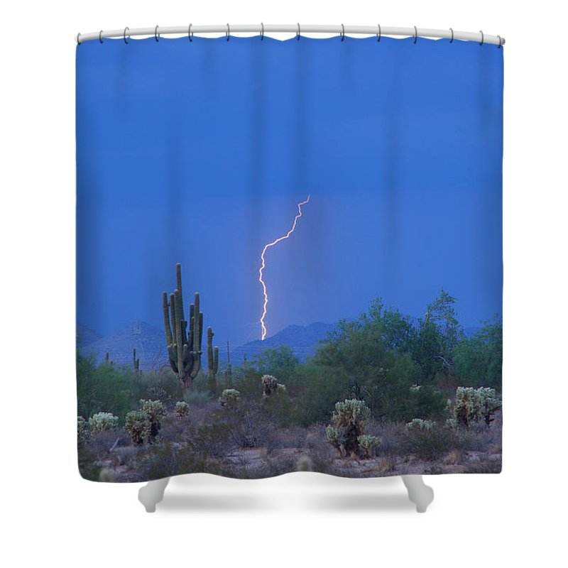 Lightning Shower Curtain featuring the photograph Saguaro Desert Lightning Strike Fine Art by James BO Insogna