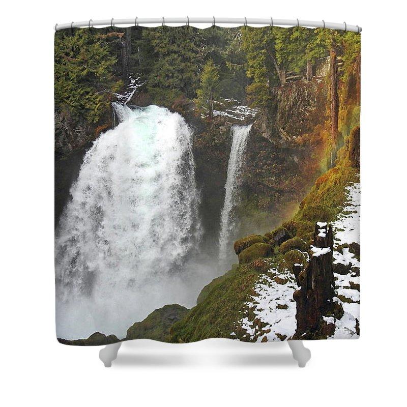 Falls Shower Curtain featuring the photograph Sahalie Falls, Oregon by Lindy Pollard