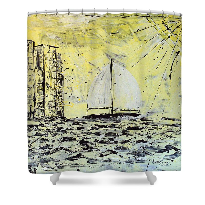 Sailboat With Sunray Shower Curtain featuring the painting Sail And Sunrays by J R Seymour
