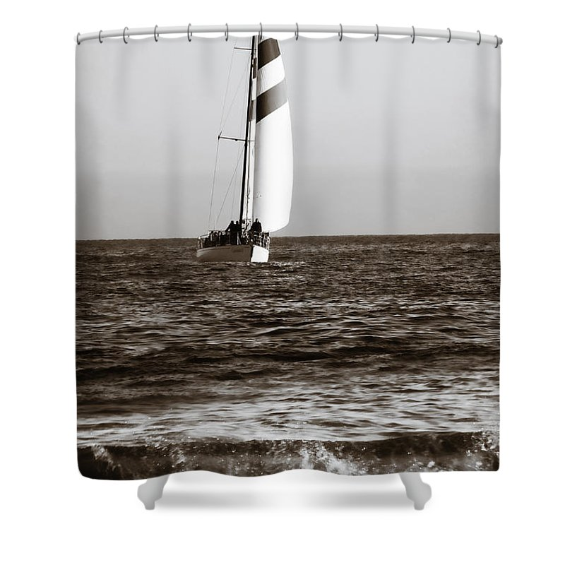 Sail Shower Curtain featuring the photograph Sail Boat Coming Ashore 2 by Marilyn Hunt