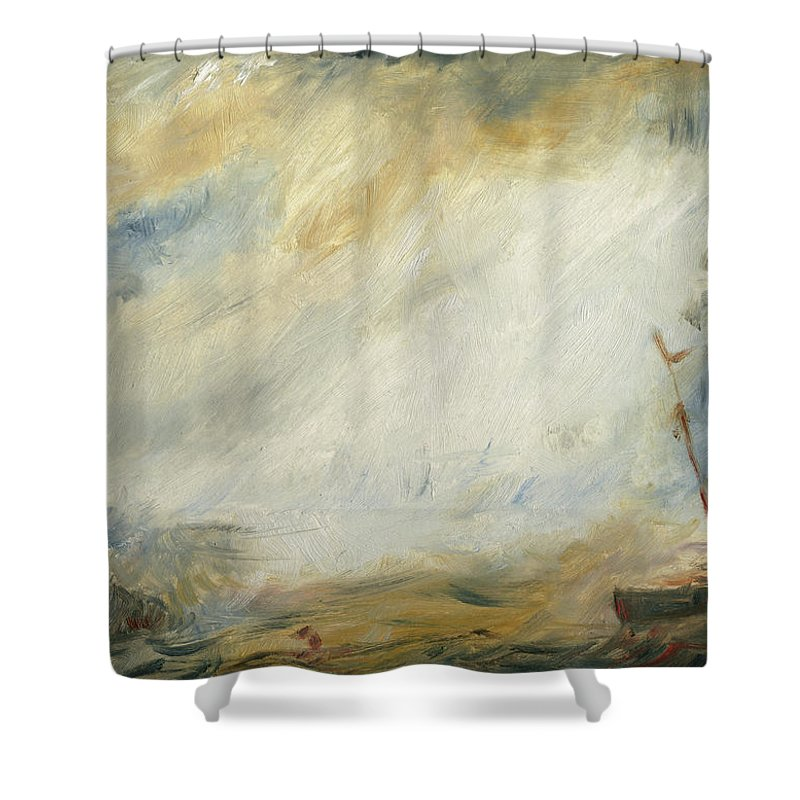 Abstract Art Shower Curtain Featuring The Painting Sail Ship By Juan Bosco