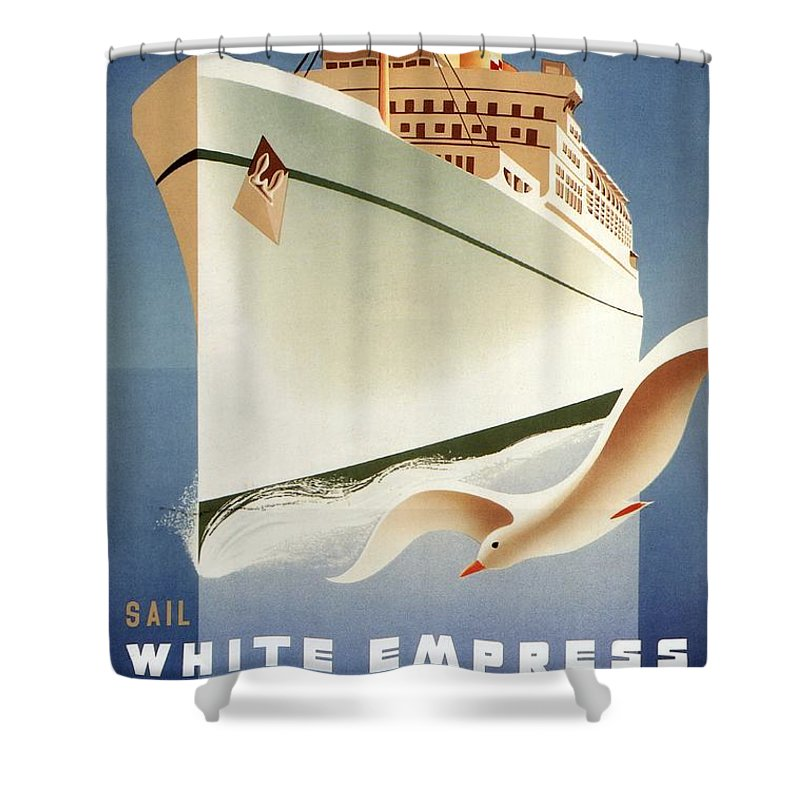 Canadian Pacific Shower Curtain featuring the mixed media Sail White Empress To Europe - Canadian Pacific - Retro Travel Poster - Vintage Poster by Studio Grafiikka