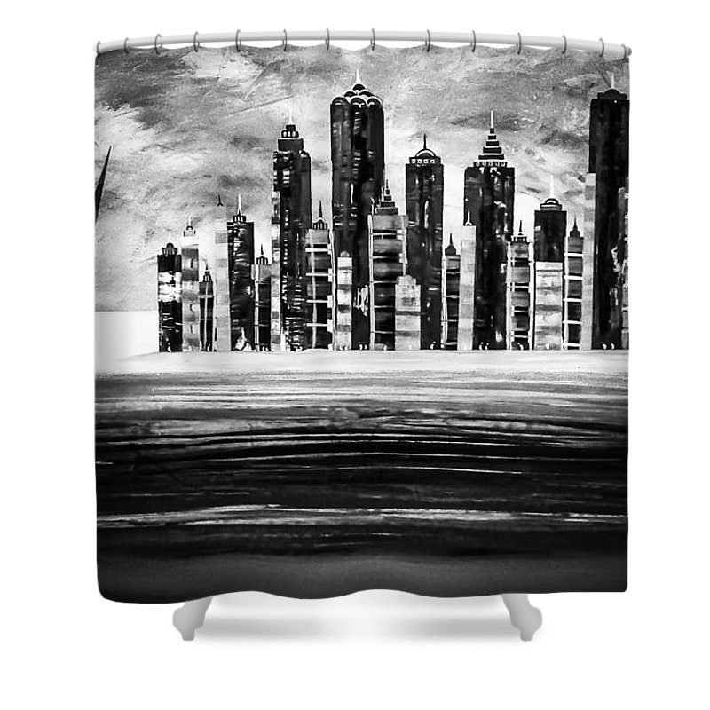 Cityscape Shower Curtain featuring the painting Sail With The City 16 by Barry Knauff
