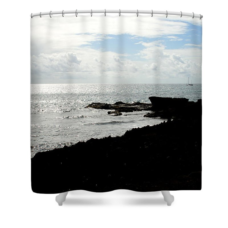 Sailboat Shower Curtain featuring the photograph Sailboat At Point by Jean Macaluso