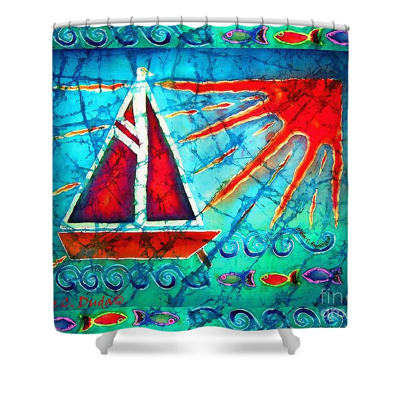 Sailboat Shower Curtain featuring the painting Sailboat In The Sun by Sue Duda
