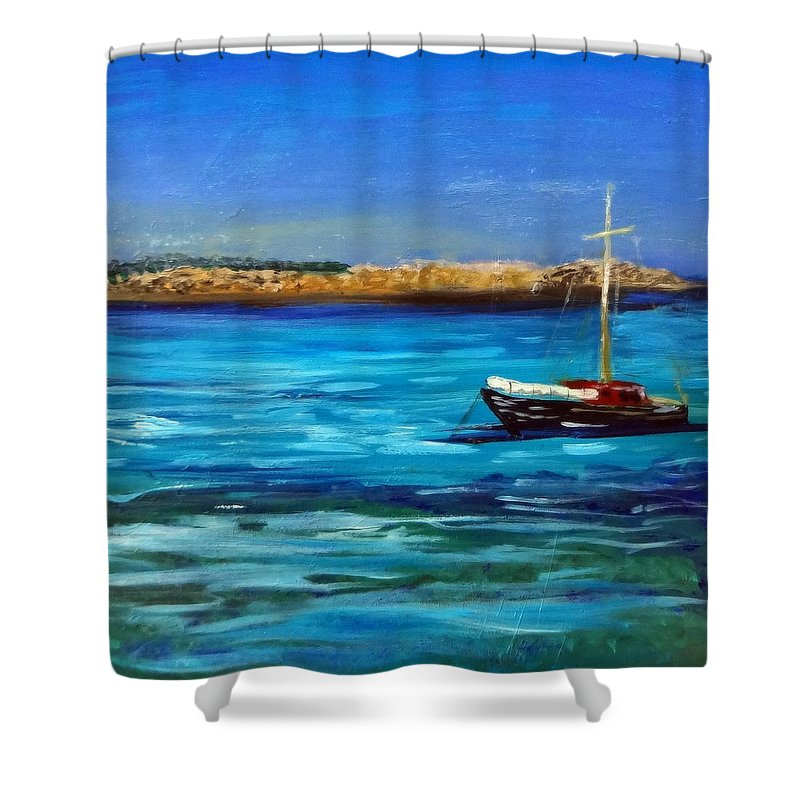 Seascape Shower Curtain featuring the painting Sailboat Off Karpathos Greece Greek Islands Sailing by Katy Hawk