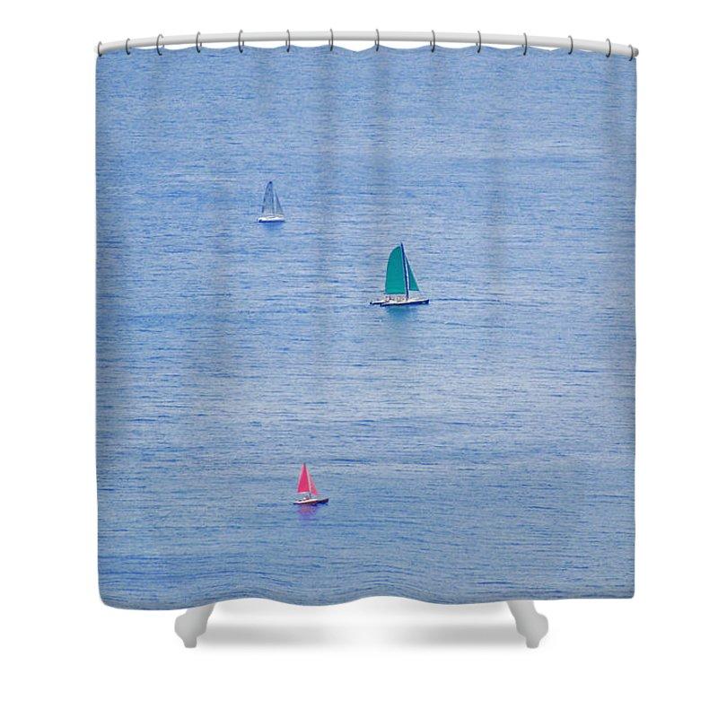 Sailboats Shower Curtain featuring the photograph Sailboats by Carol Eliassen