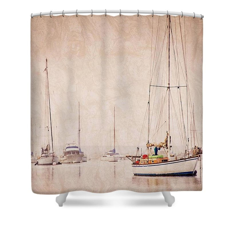 Sailboats Shower Curtain featuring the photograph Sailboats in Morro Bay Fog by Zayne Diamond Photographic