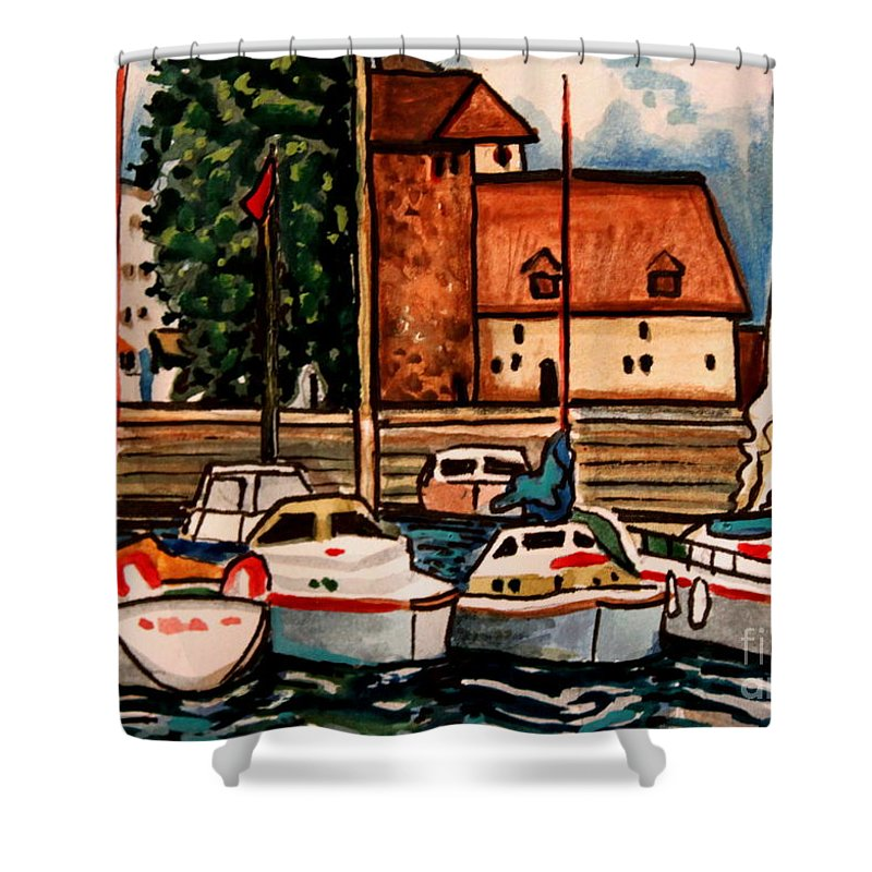 Watercolor Shower Curtain featuring the painting Sailboats In The Harbor by Elizabeth Robinette Tyndall