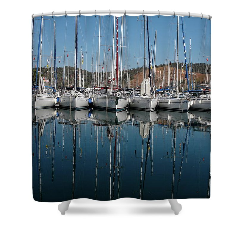 Sailboats Docked Close Together Shower Curtain featuring the photograph Sailboats Reflected by Sally Weigand