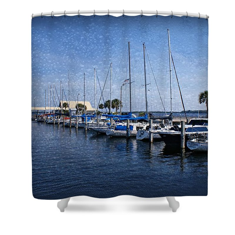 Sailboats Shower Curtain featuring the photograph Sailboats by Sandy Keeton