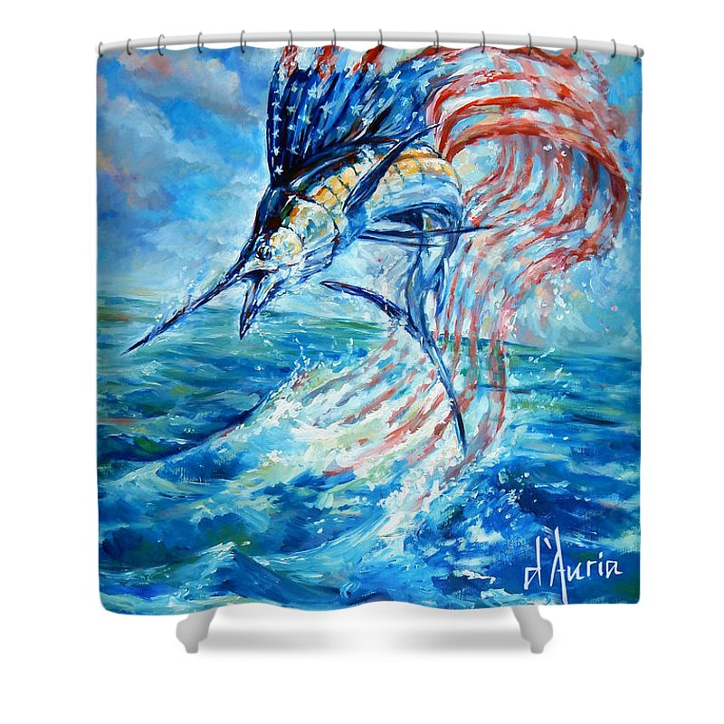 Sailfish Shower Curtain Featuring The Painting Americana By Tom Dauria