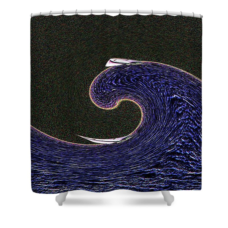 Sail Shower Curtain featuring the digital art Sailin The Wave by Tim Allen