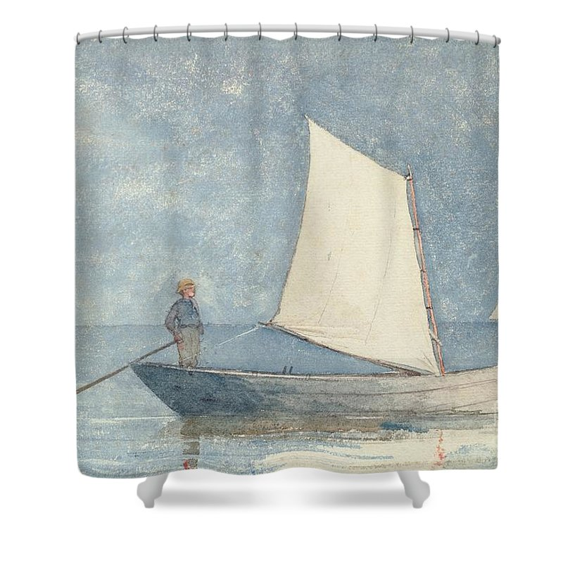 Boat Shower Curtain featuring the painting Sailing A Dory by Winslow Homer