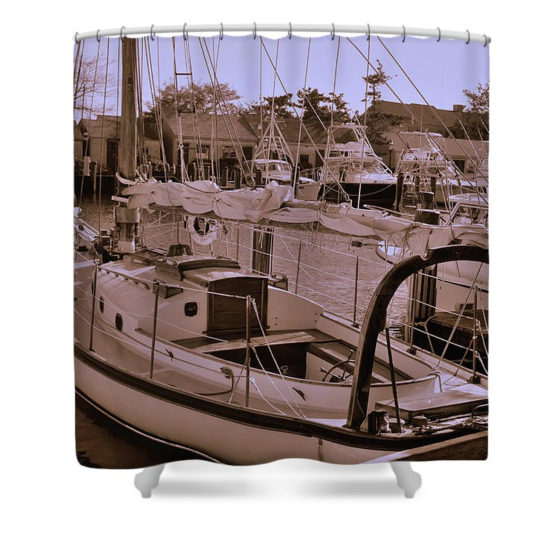 Boat Shower Curtain featuring the photograph Sailing Anyone by Lori Tambakis