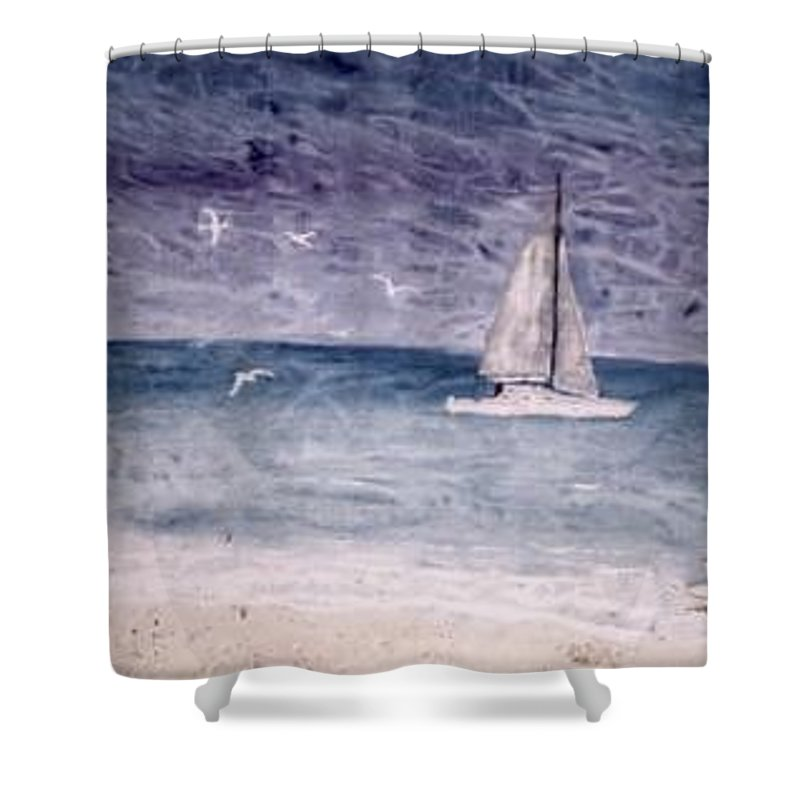 Watercolor Seascape Sailing Boat Landscape Painting Shower Curtain featuring the painting Sailing At Night Nautical Painting Print by Derek Mccrea