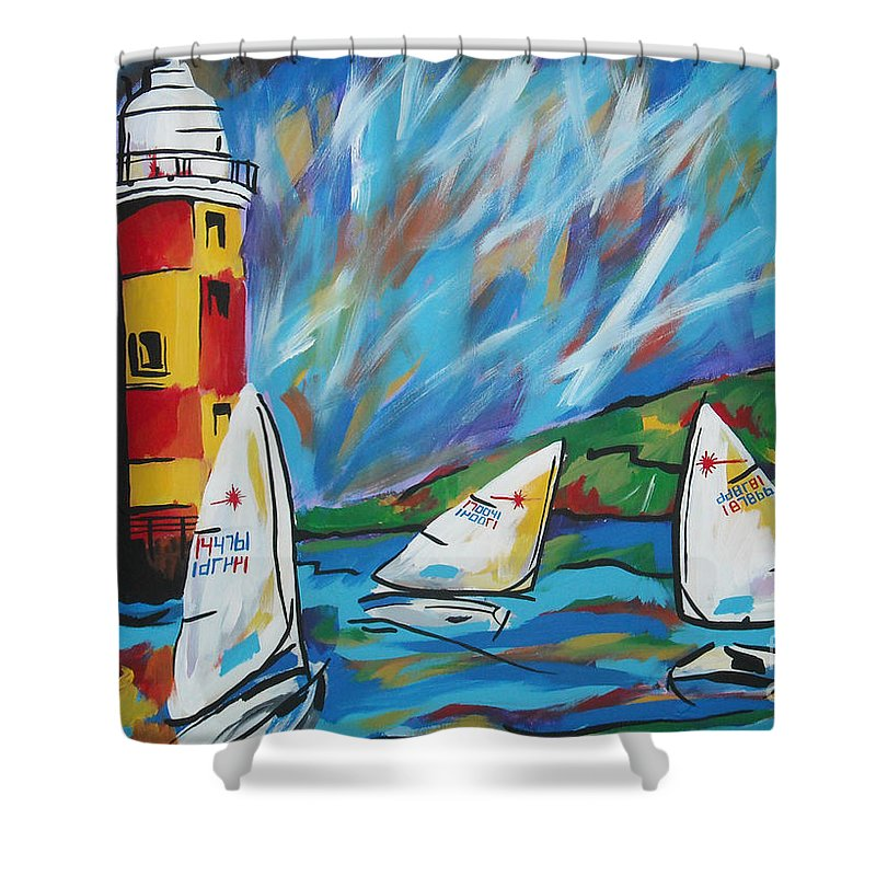 Sailboat Shower Curtain featuring the painting Sailing by Caroline Davis