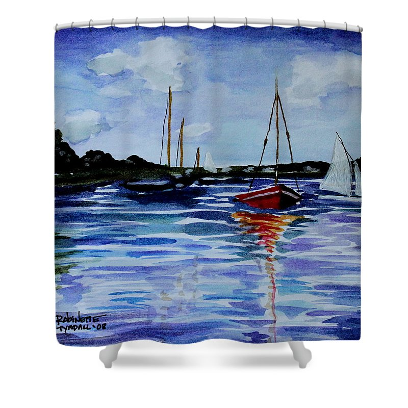 Sailing Shower Curtain featuring the painting Sailing Day by Elizabeth Robinette Tyndall