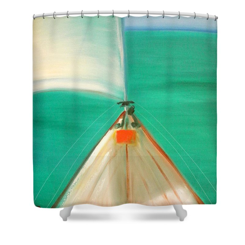 Sea Shower Curtain featuring the painting Sailing by Gina De Gorna
