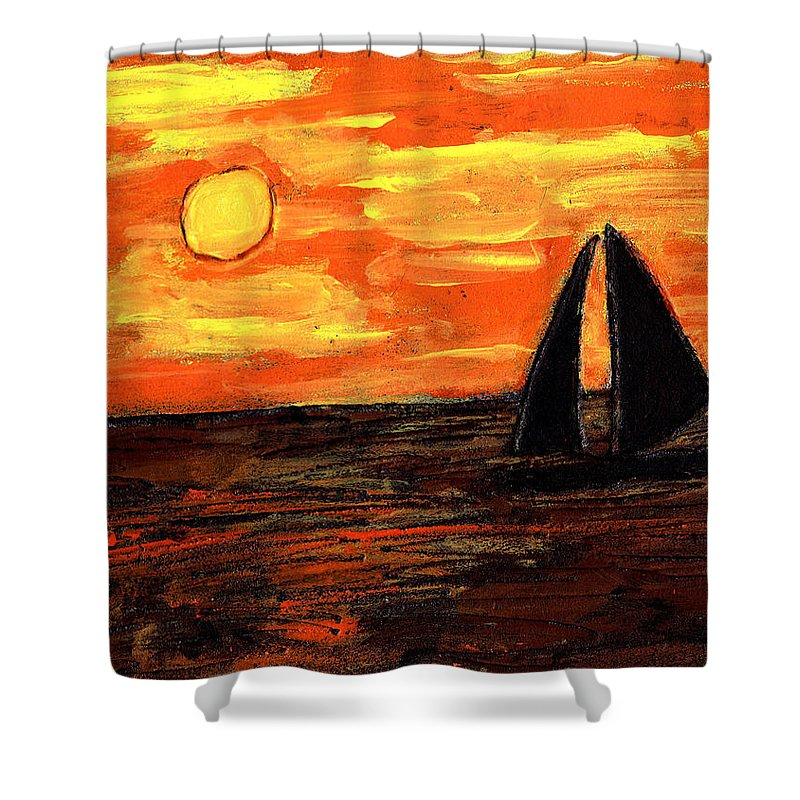 Sailing Shower Curtain featuring the painting Sailing Home At Sunset by Wayne Potrafka