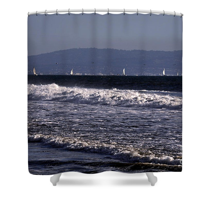 Clay Shower Curtain featuring the photograph Sailing In Santa Monica by Clayton Bruster