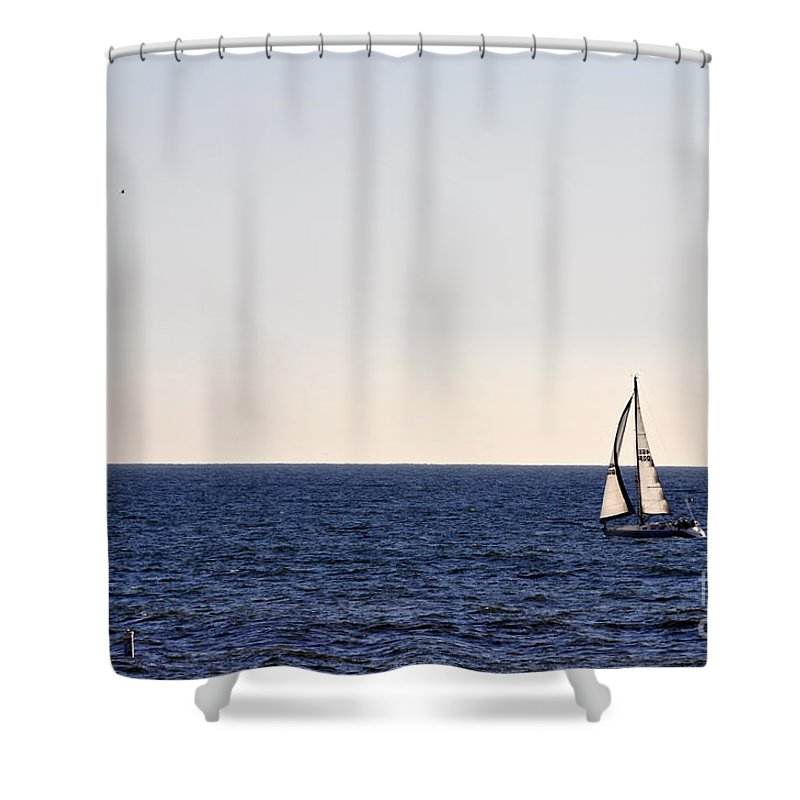 Clay Shower Curtain featuring the photograph Sailing In Santa Monica II by Clayton Bruster