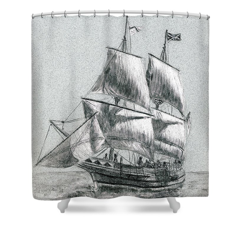 Seascape Shower Curtain featuring the drawing Sailing by Michael Beckett