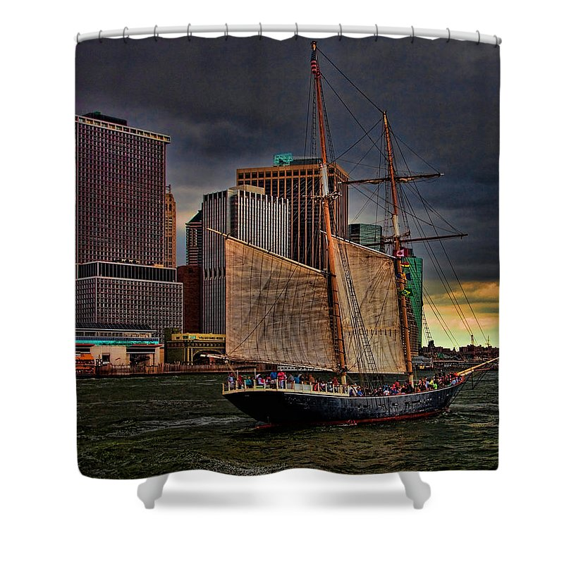 New York Shower Curtain featuring the photograph Sailing On The East River by Chris Lord