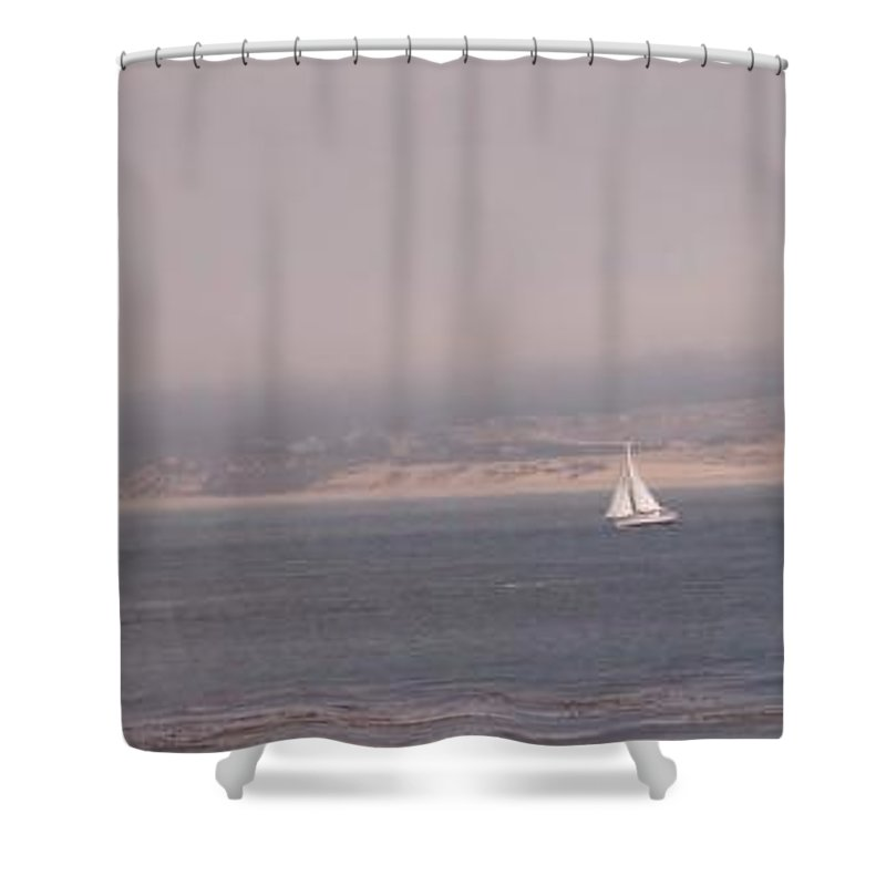 Sailing Sail Sailboat Boating Boat Ocean Pacific Bay Sea Seascape Nature Outdoors Marine Beach Shower Curtain featuring the photograph Sailing Solo by Pharris Art