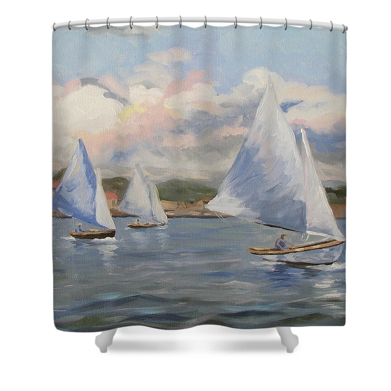 Seascape Shower Curtain featuring the painting Sailing Sunday by Jay Johnson