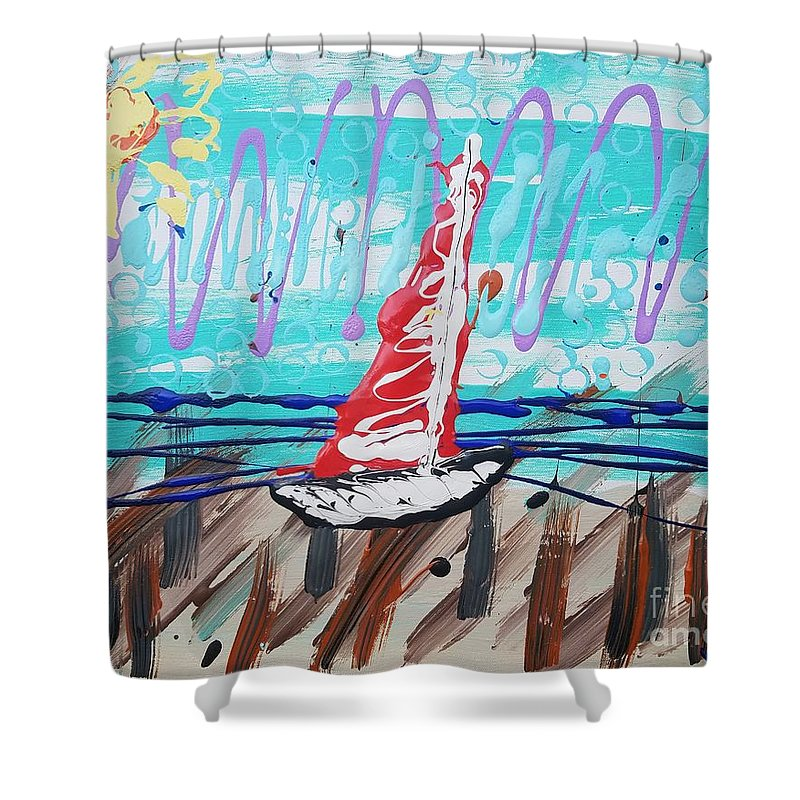 Sailing Shower Curtain featuring the painting Sailing The Coast Abstract by Scott D Van Osdol