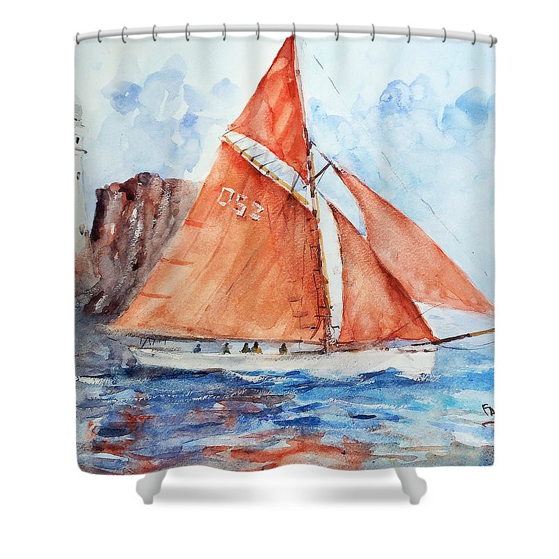 Sail Shower Curtain featuring the painting Sailing The Open Sea... by Faruk Koksal