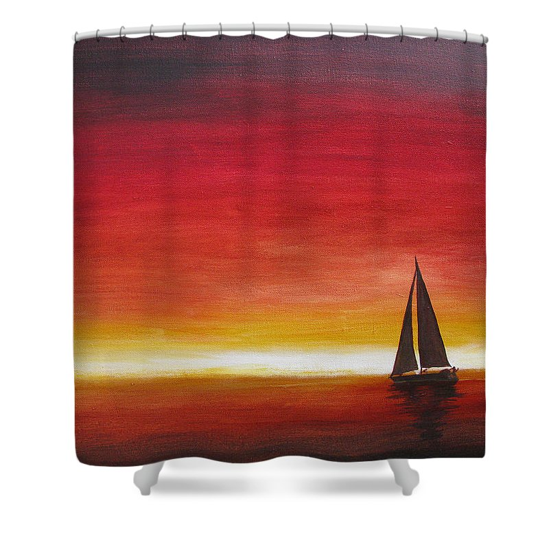 Sunset Shower Curtain featuring the painting Sailors Delight by Karen Stark