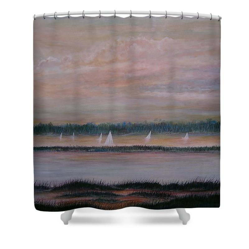 Sailboats; Marsh; Sunset Shower Curtain featuring the painting Sails In The Sunset by Ben Kiger