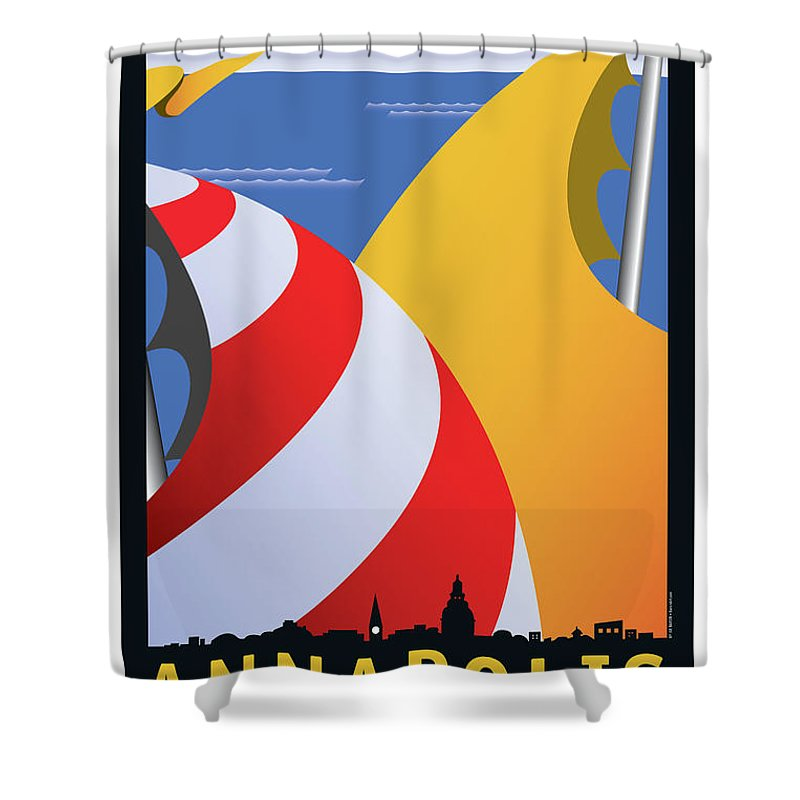 Sails Shower Curtain featuring the digital art Sails by Joe Barsin