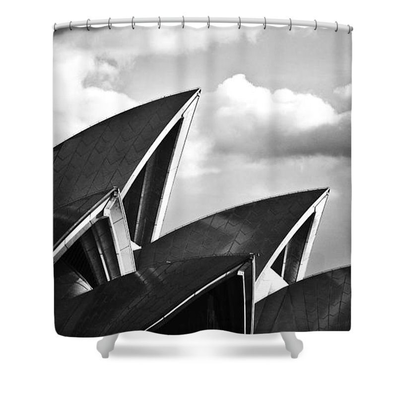 Sydney Opera House Monochrome Black And White Icon Shower Curtain featuring the photograph Sails Of Sydney Opera House by Sheila Smart Fine Art Photography