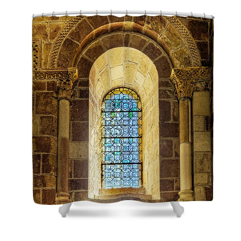 Romanesque Shower Curtain featuring the photograph Saint Isidore - Romanesque Window With Stained Glass by Weston Westmoreland