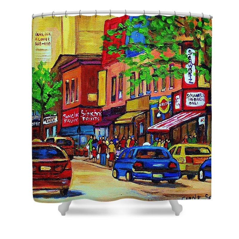 Cityscape Shower Curtain featuring the painting Saint Lawrence Street by Carole Spandau