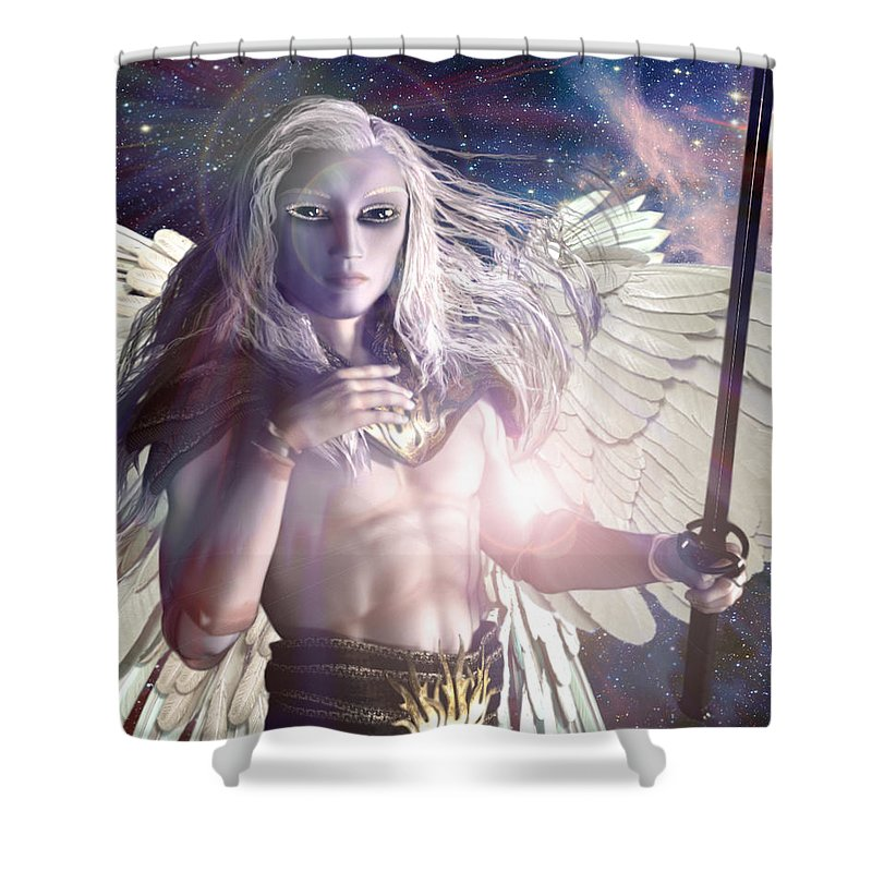 Saint Michael The Archangel Shower Curtain featuring the painting Saint Michael Doll by Suzanne Silvir