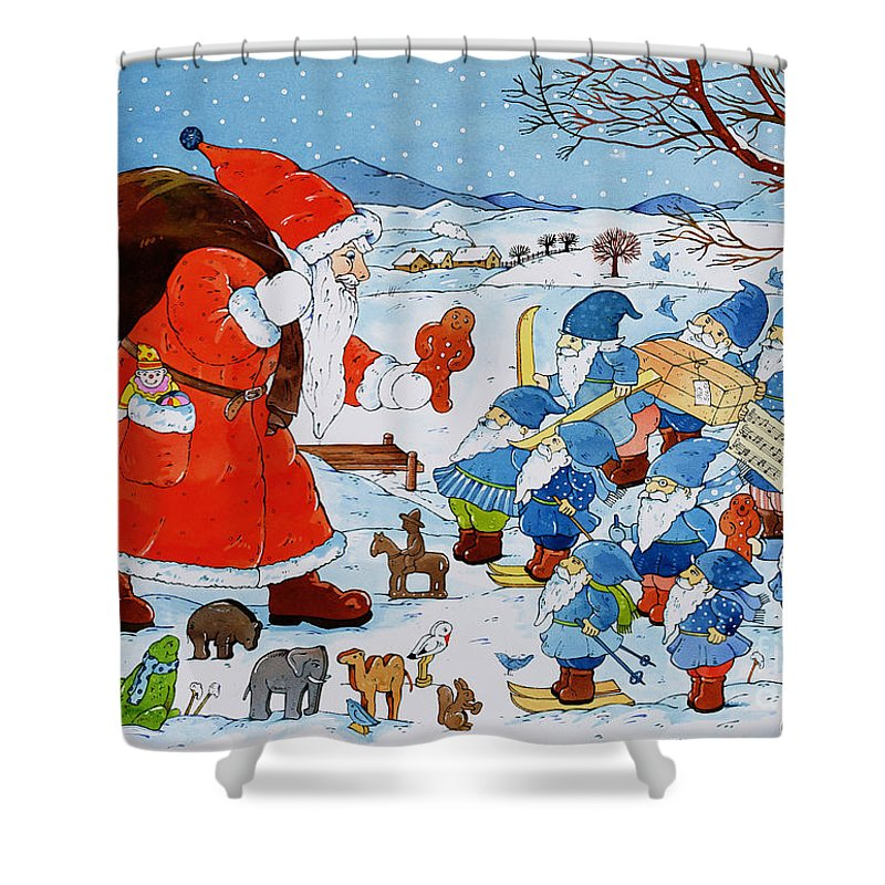 St. Nikolaus (w/c On Paper) By Christian Kaempf (contemporary Artist) Shower Curtain featuring the painting Saint Nicholas by Christian Kaempf