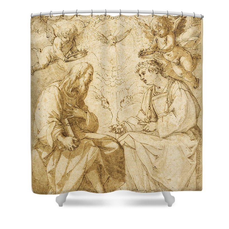 Giovanni Baglione Shower Curtain featuring the drawing Saint Paul And Saint Stephen Crowned By Angels by Giovanni Baglione