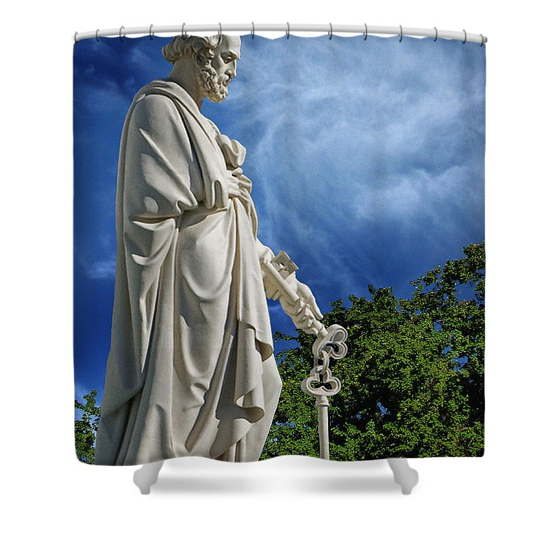 Saint Peter With Keys To Heaven Shower Curtain featuring the photograph Saint Peter With Keys To Heaven by Peter Piatt