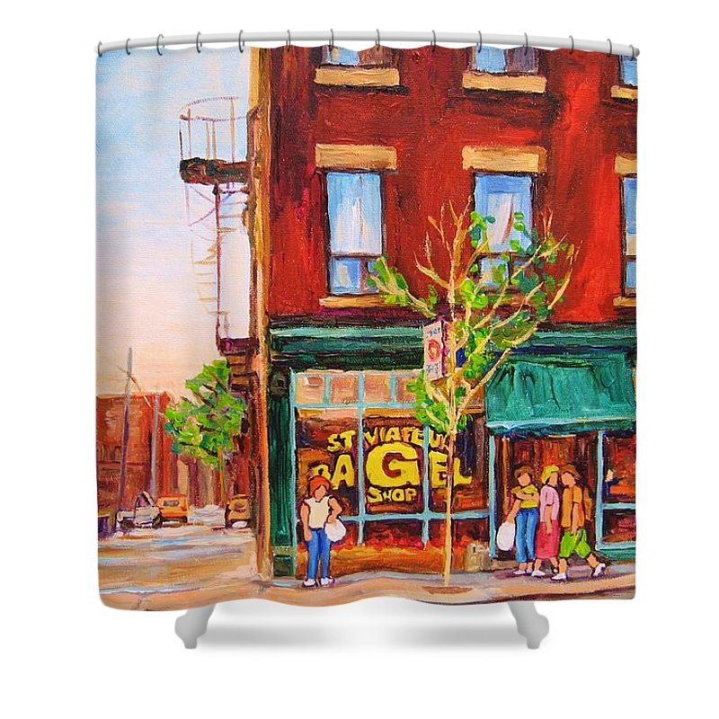 Montreal Shower Curtain featuring the painting Saint Viateur Bagel by Carole Spandau